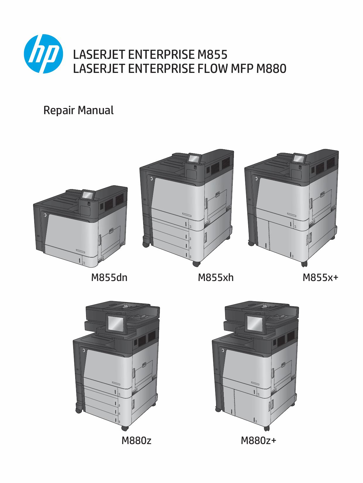 HP LaserJet Enterprise M855 M880 FlowMFP Parts and Repair Manual PDF  download-1